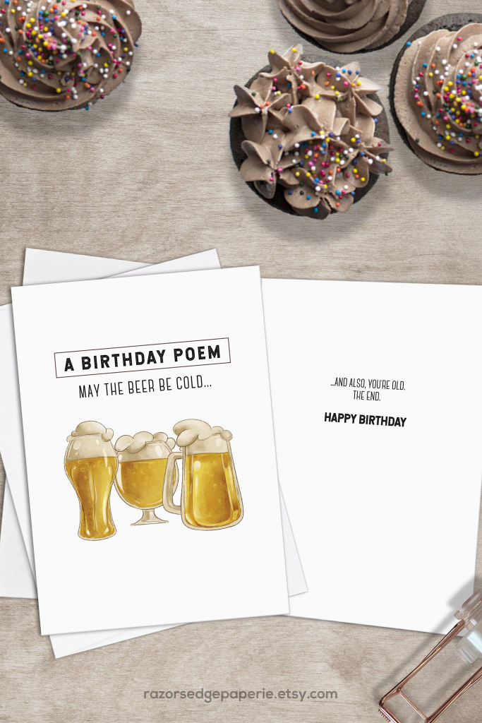 Printable Beer Birthday Card For Him Instant Download // Cold Beer | Free Printable Funny Birthday Cards