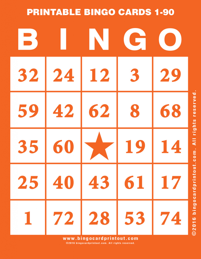 Printable Bingo Cards 1-90 - Bingocardprintout   Free Printable Bingo Cards With Numbers