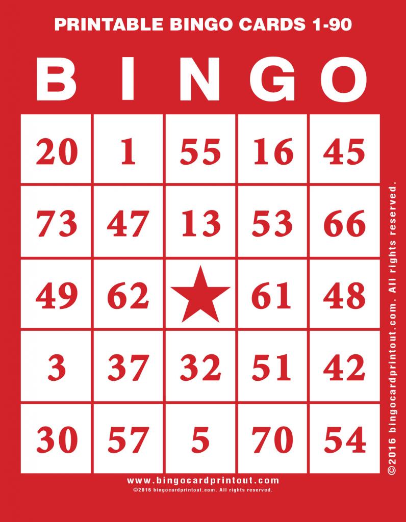 Printable Bingo Cards 1-90 - Bingocardprintout | Printable Bingo Cards 1 20