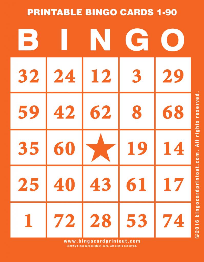 Printable Bingo Cards 1-90 - Bingocardprintout | Printable Bingo Cards 1 75