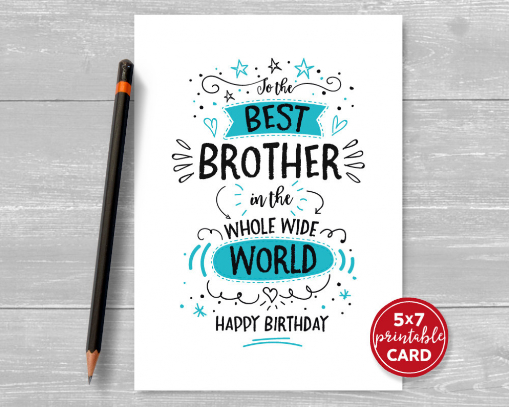 Printable Birthday Card For Brother To The Best Brother In | Etsy | Happy Birthday Brother Cards Printable