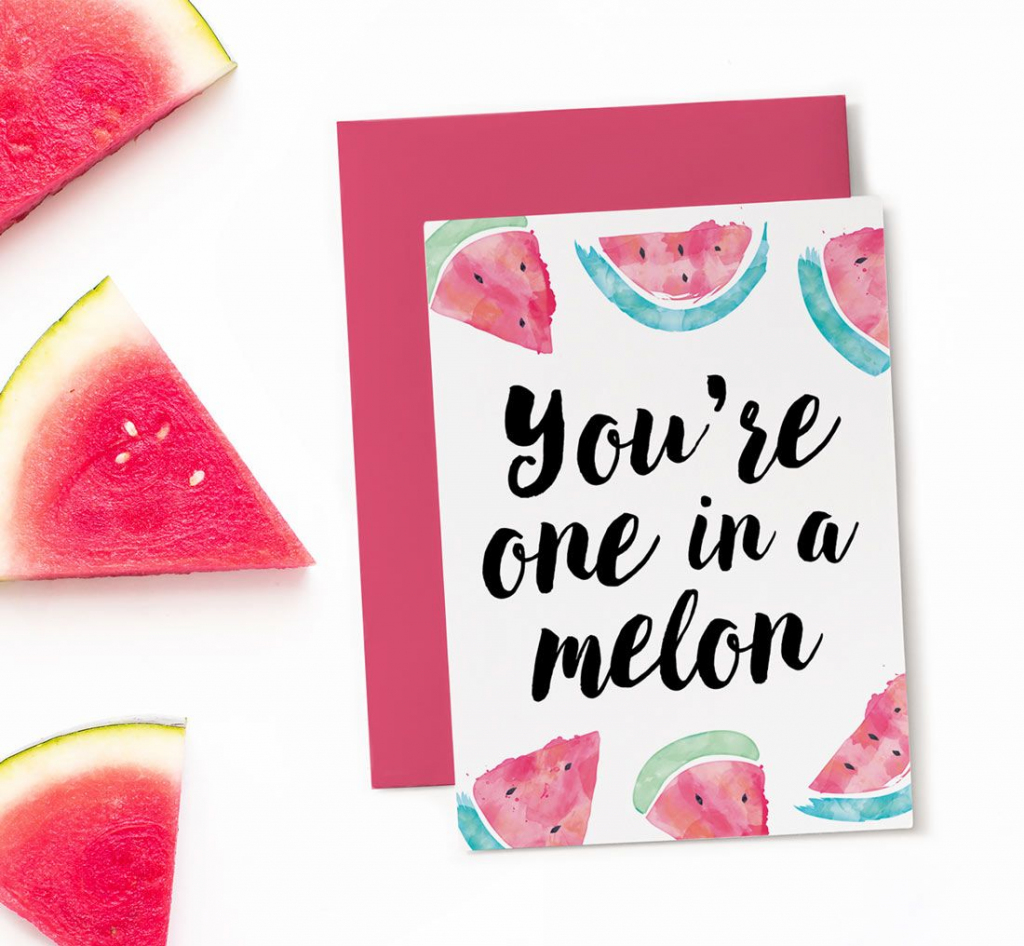 Printable Birthday Card - One In A Melon   Greeting Cards   Funny   Printable Birthday Cards For Mom Funny