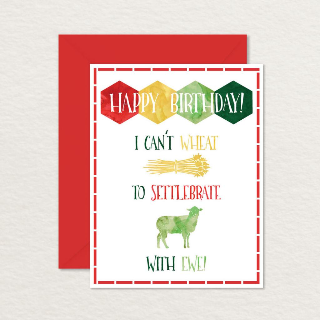 Printable Birthday Card / Settlers Of Catan Card / Printable   Etsy   Nerdy Birthday Cards Printable