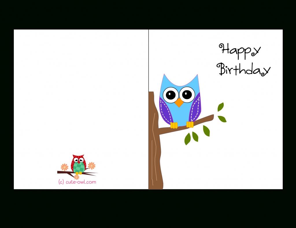 Printable Birthday Cards Foldable Owl   Chart And Printable World   Printable Birthday Cards Foldable