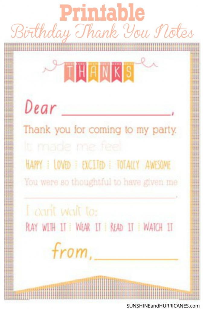 Printable Birthday Thank You Notes | Cute Printable Thank You Cards