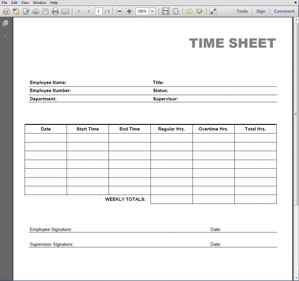 Printable Blank Pdf Time Card | Free Printable Time Cards