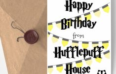 Printable Blank Wizard Birthday Card Badger Black And Yellow | Harry | Harry Potter Birthday Card Printable