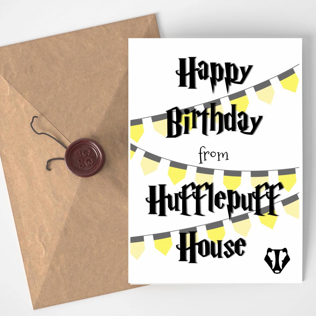 Printable Blank Wizard Birthday Card Badger Black And Yellow   Harry   Harry Potter Birthday Card Printable