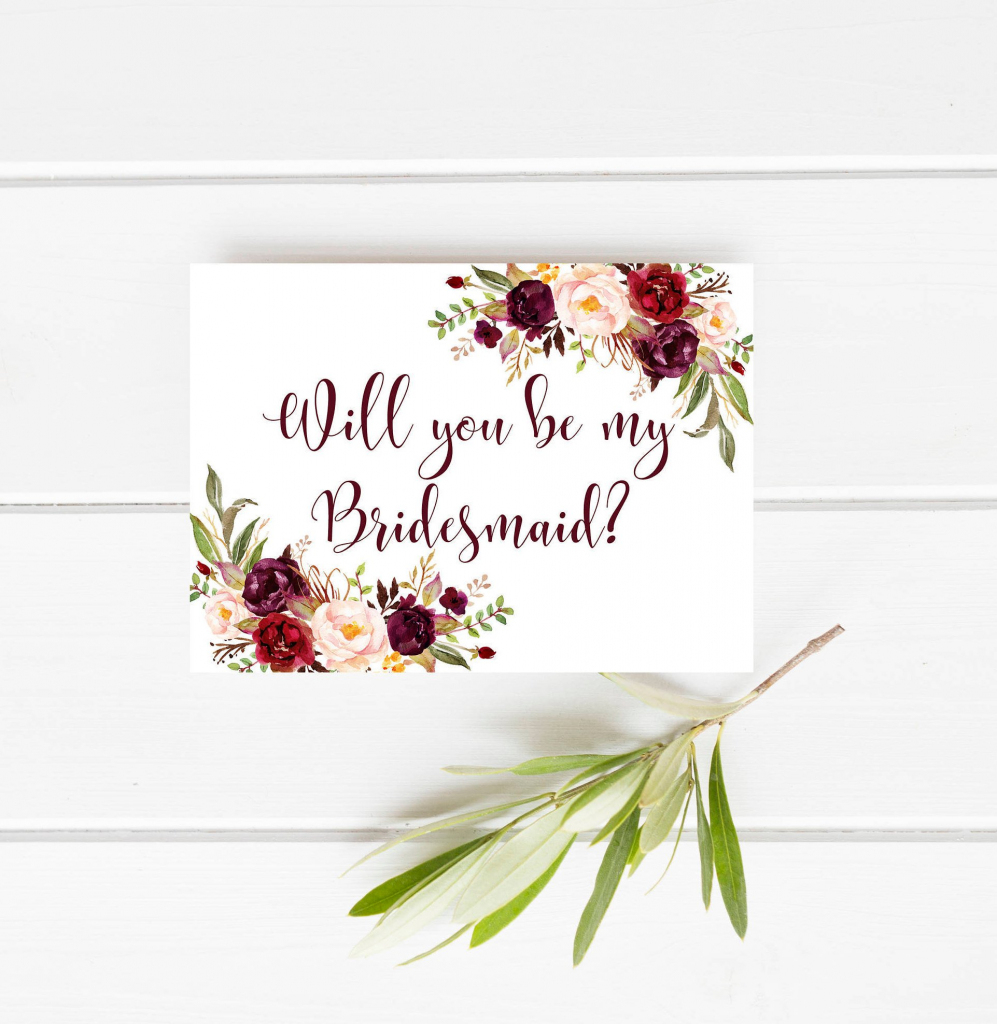 Printable Bridesmaid Card Marsala Will You Be My Bridesmaid   Etsy   Printable Bridesmaid Proposal Cards