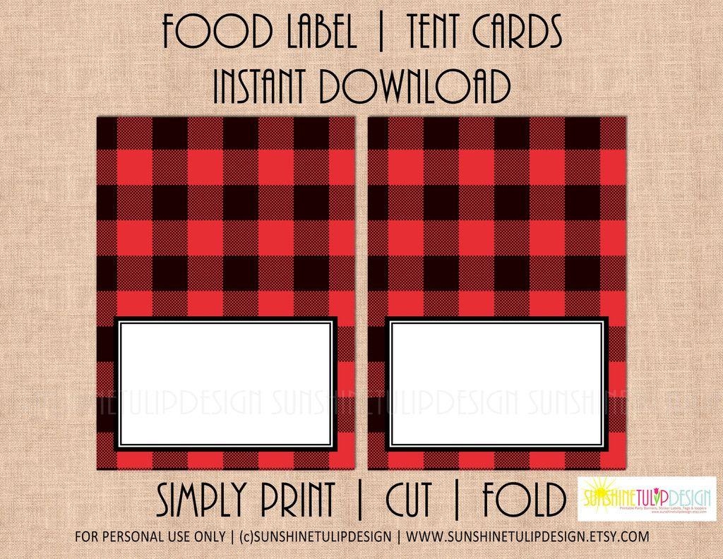 Printable Buffalo Plaid Food Label Tent Cards, Christmas, Holiday | Free Printable Christmas Tent Cards