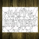 Printable Card To Colour In Happy Birthday With Balloons   Etsy   Make Your Own Printable Card
