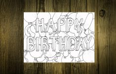 Printable Card To Colour In Happy Birthday With Balloons | Etsy | Make Your Own Printable Card
