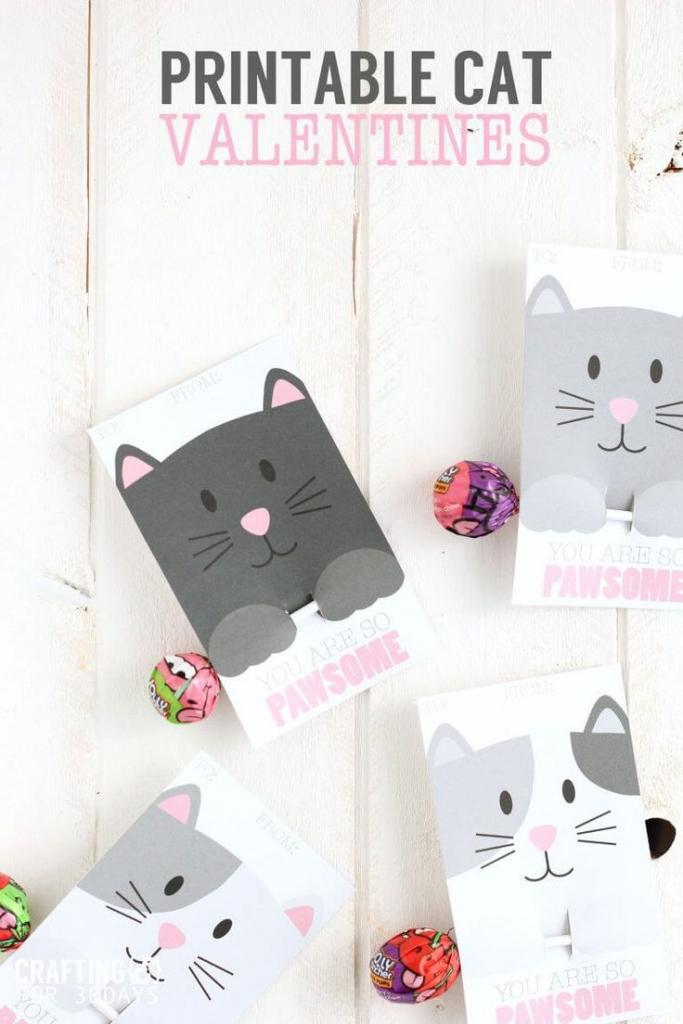 Printable Cat Valentine Day Cards | Valentine's Day Ideas For Kids | Free Printable Cat Valentine Cards