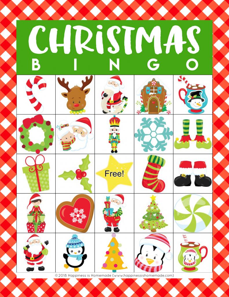Printable Christmas Bingo Game - Happiness Is Homemade | Kid Christmas Bingo Card Printables