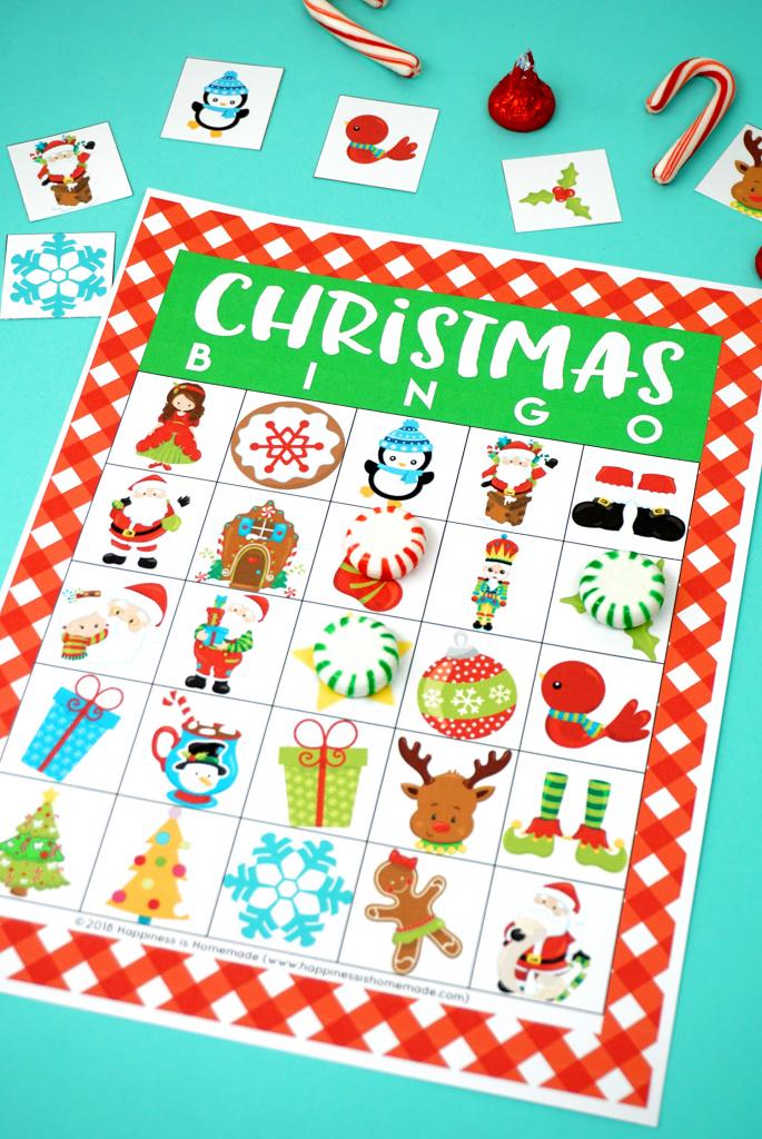 Printable Christmas Bingo Game - Happiness Is Homemade | Printable Christmas Bingo Cards