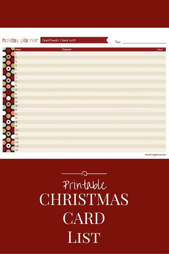 Printable Christmas Card List | Christmas | Pinterest | Christmas | Printable Christmas Card List