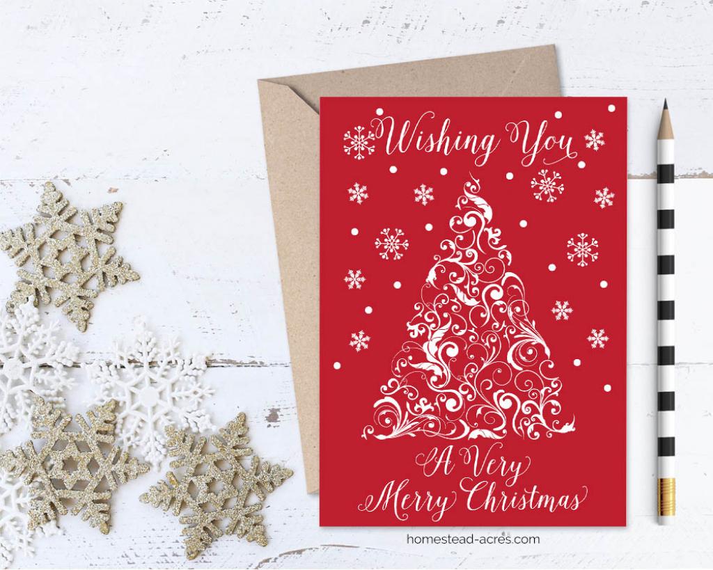 Printable Christmas Card Wishing You A Very Merry Christmas | Merry Christmas Cards Printable