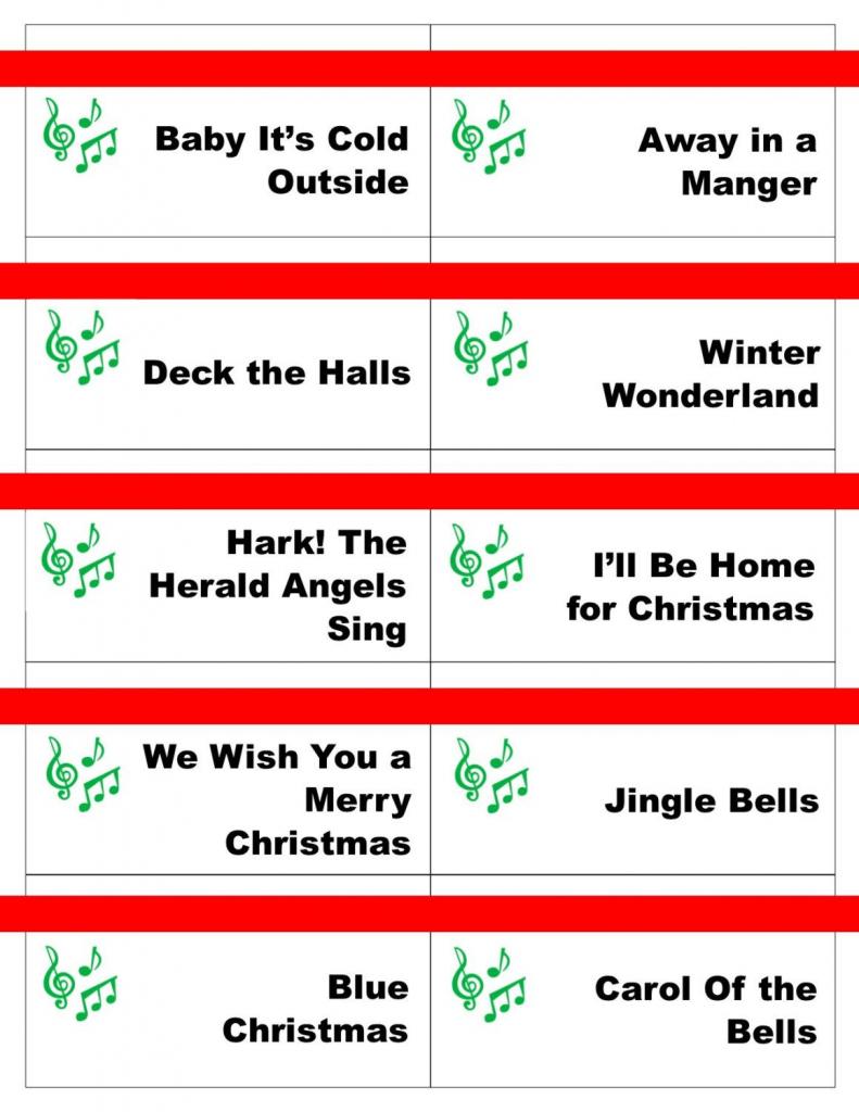 Printable Christmas Carol Game Cards For Pictionary Or   Free Printable Christmas Pictionary Cards
