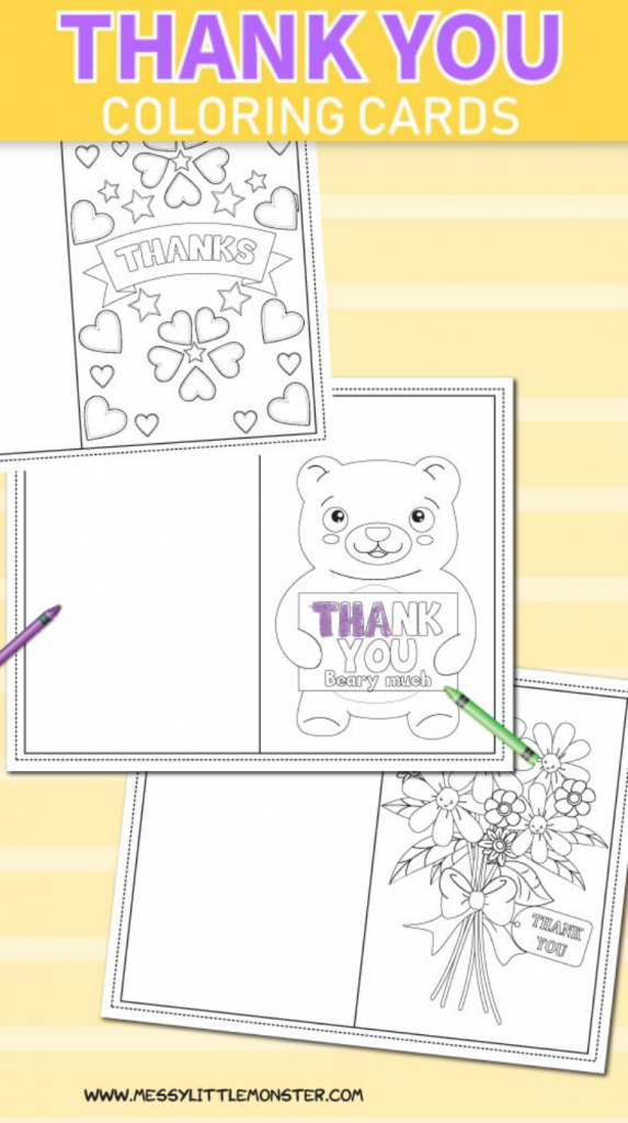 Printable Colouring Thank You Cards For Kids - Messy Little Monster | Printable Thank You Cards For Kids