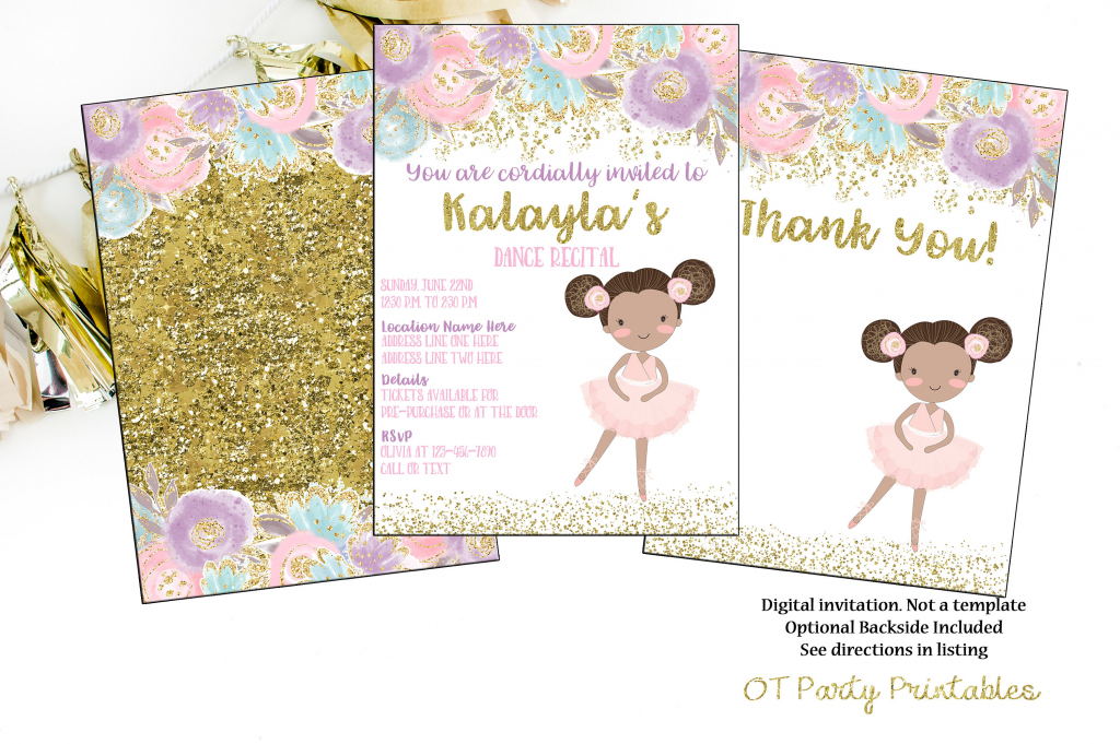 Printable Dance Recital Digital Invitation Ballerina Invite   Etsy   Free Printable Dance Recital Cards