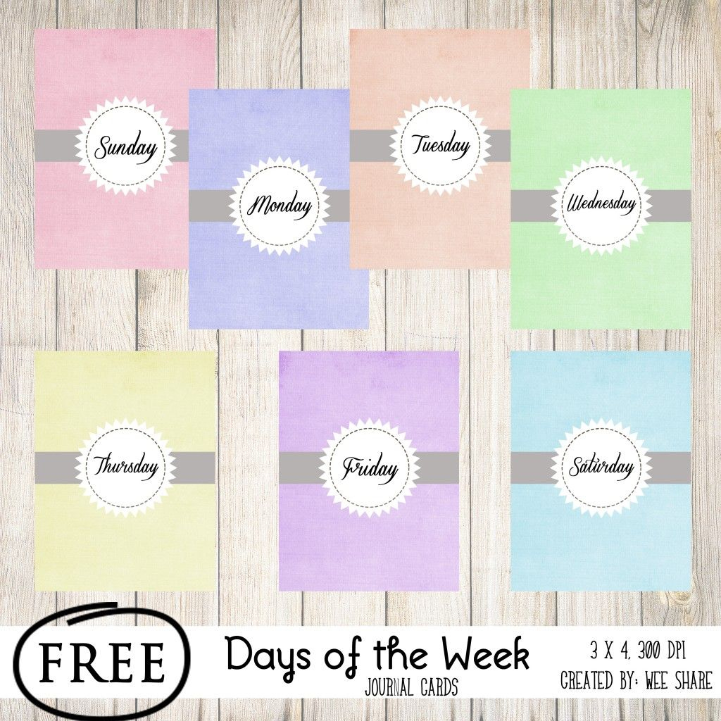 Printable -- Days Of The Week Journal Cards   Smash* And Pl   Free Printable Days Of The Week Cards