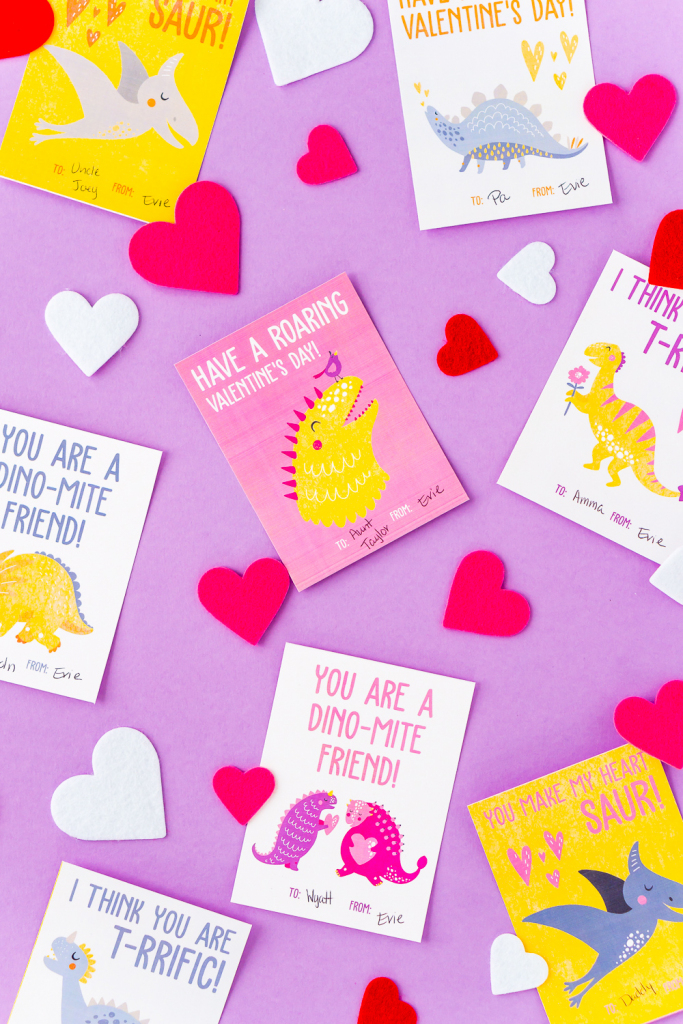 Printable Dinosaur Valentine Cards | Sugar & Soul | Printable Dinosaur Valentines Day Cards