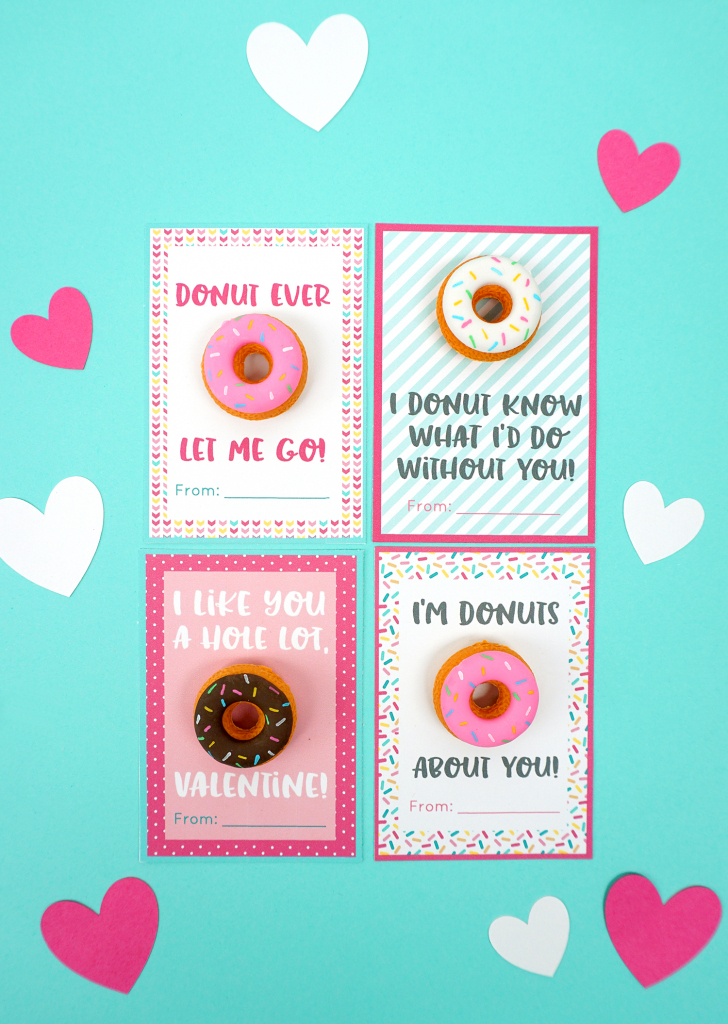 Printable Donut Valentine Cards - Happiness Is Homemade   Make Valentines Cards Printable