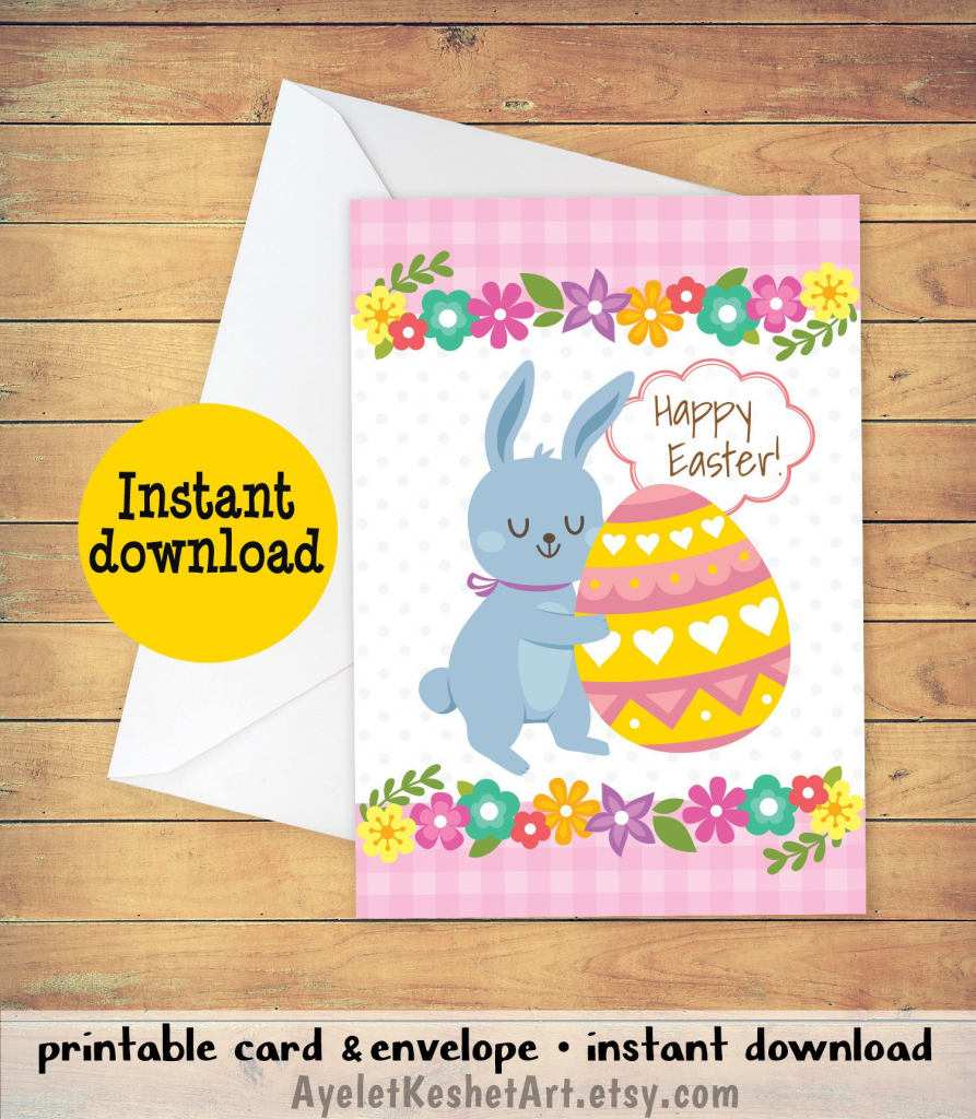 Printable Easter Card With A Bunny And An Easter Egg. Cute   Etsy   Printable Greek Easter Cards