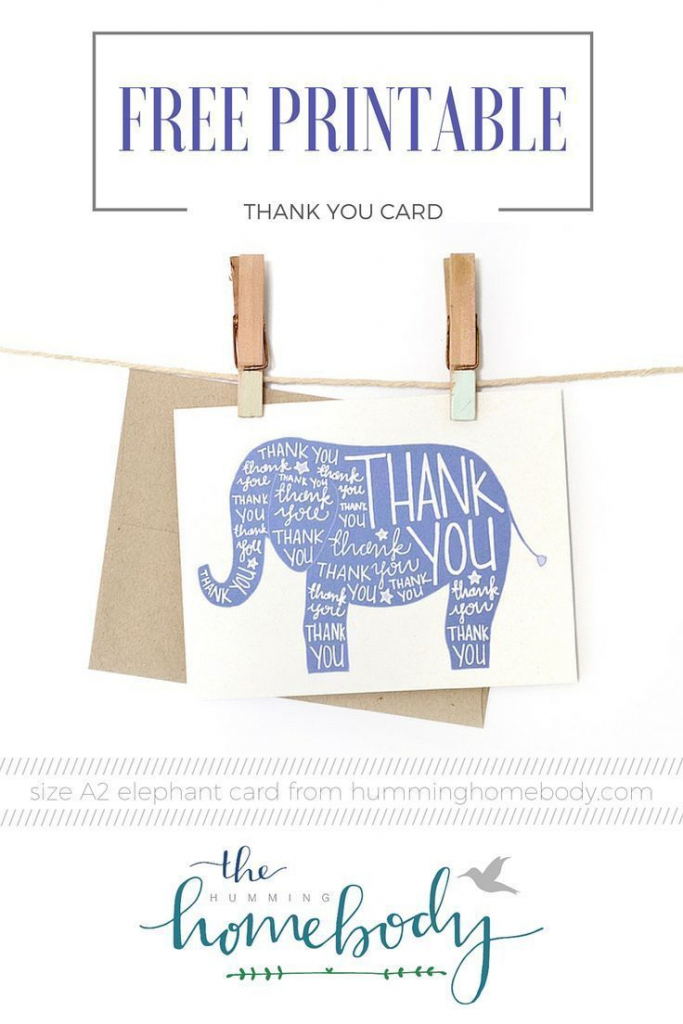 Printable Elephant Thank You Card | Printables | The Best Downloads | Cute Printable Thank You Cards