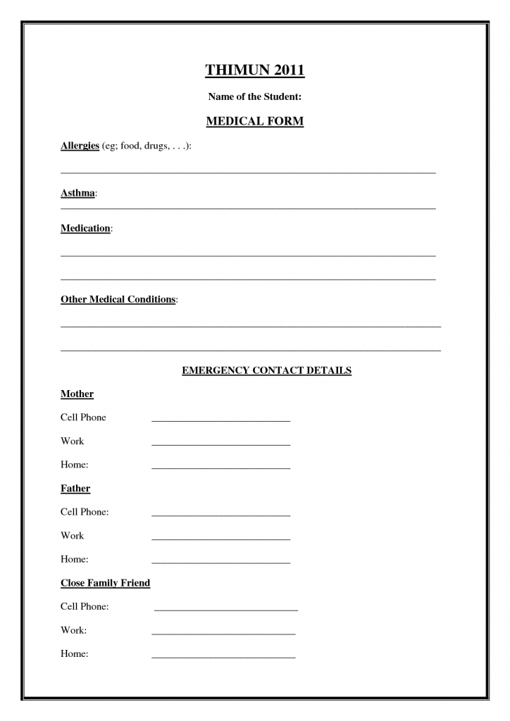 Printable Emergency Contact Form - Canas.bergdorfbib.co | Printable Emergency Card Template