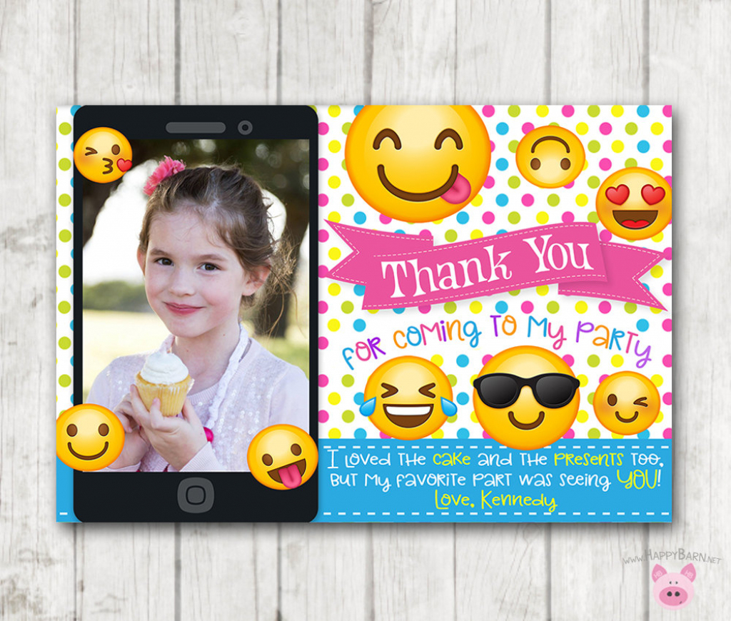 Printable Emoji Thank You Cards With Photo Vertical Emoji   Etsy   Printable Emoji Thank You Cards