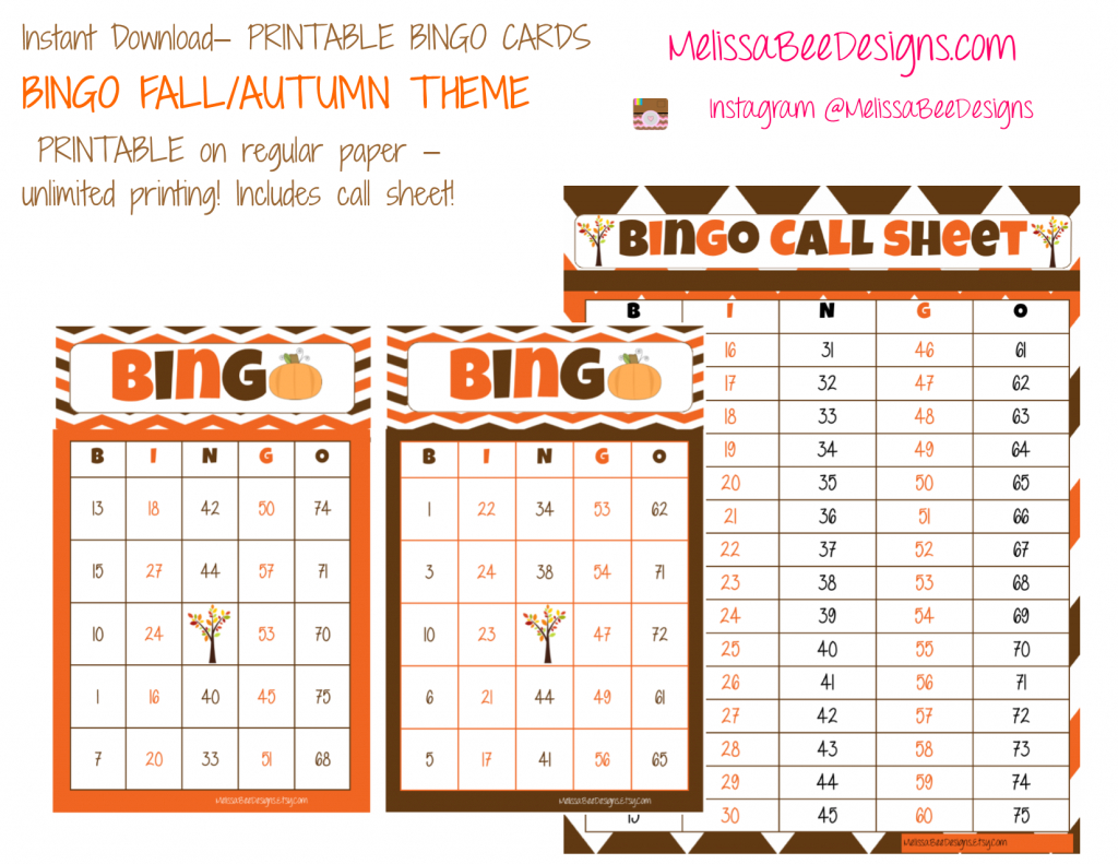 Printable Fall Pumpkin Bingo Cards – Quantity Of 30 Different Cards | Free Printable Bingo Cards And Call Sheet