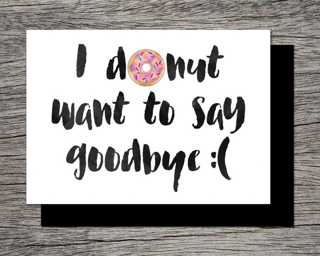 Printable Farewell Card /printable Goodbye Card - I Donut Want To | Printable Goodbye Cards For Students