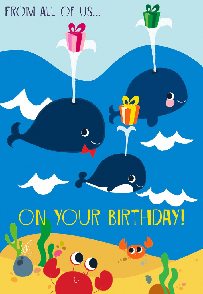 Printable 'from All Of Us On Your Birthday' Greeting Card. #birthday   Happy Birthday From All Of Us Printable Cards
