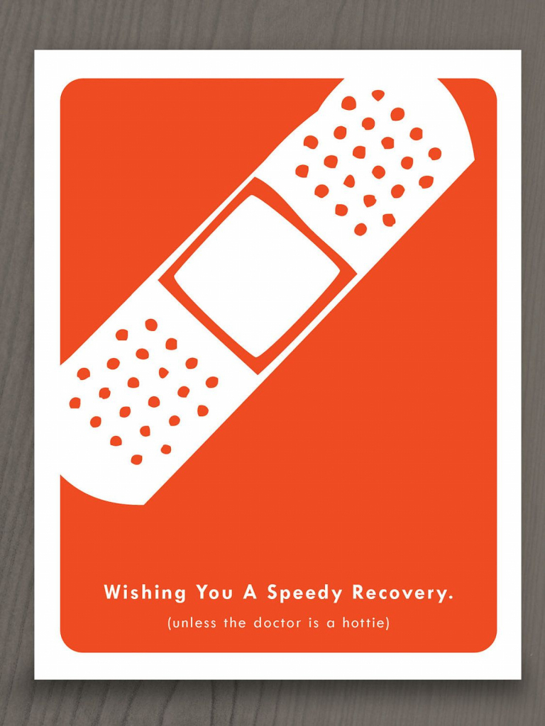 """Printable Get Well Soon Notecard - Funny. $4.00 """"wishing You A 