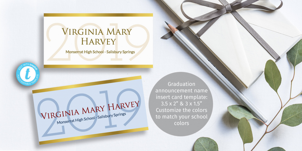 Printable Graduation Name Card Insert Easy To Customize   Etsy   Printable Name Cards For Graduation Announcements