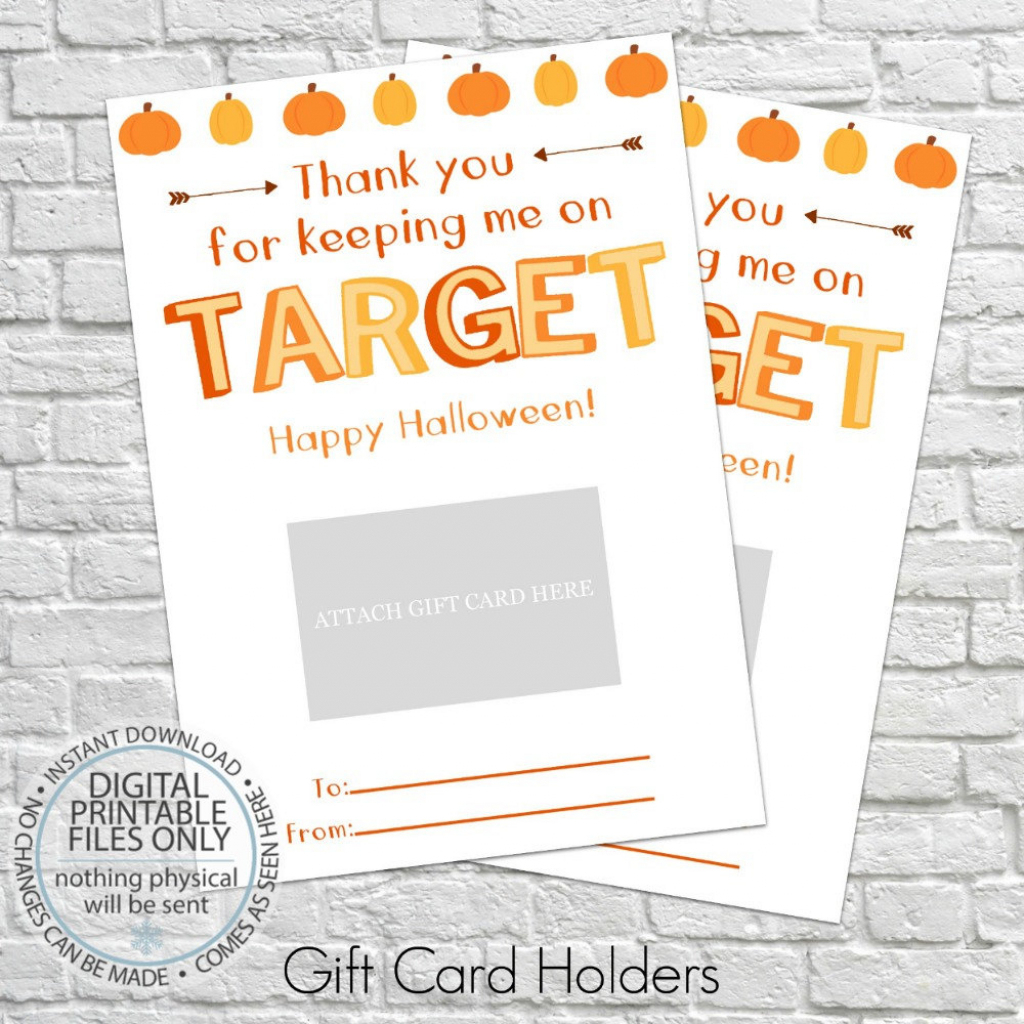 Printable Halloween Gift Card Holder Thank You Gift Card | Etsy | Halloween Thank You Cards Printable