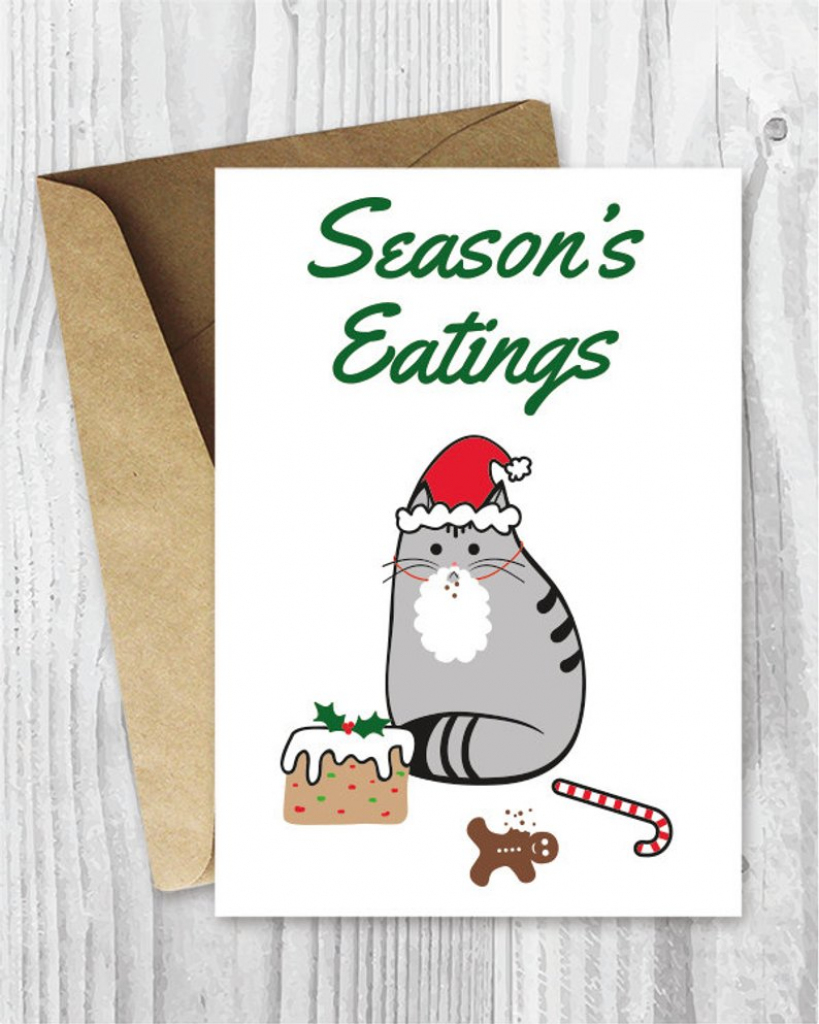 Printable Holiday Cards Season's Eatings Cat Card Funny   Etsy   Printable Funny Thanksgiving Greeting Cards