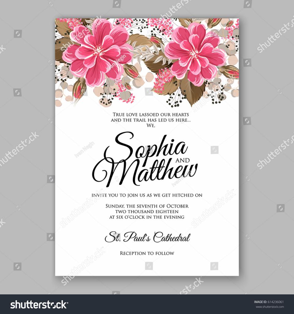 Printable Invitation Card Stock Stock Vector Soft Red Dahlia Wedding   Printable Invitation Card Stock
