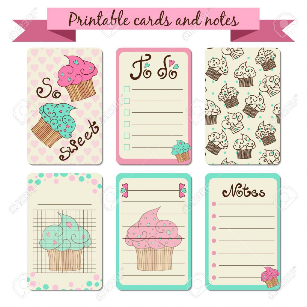 Printable Journalist Cards. Sweet Notes. To Do List With Cupcakes | Cute Note Cards Printable