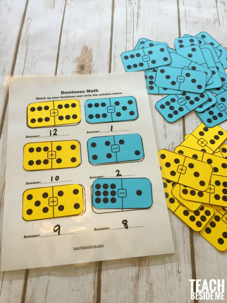 Printable Math Dominoes For Addition, Subtraction – Teach Beside Me | Printable Domino Cards For Math