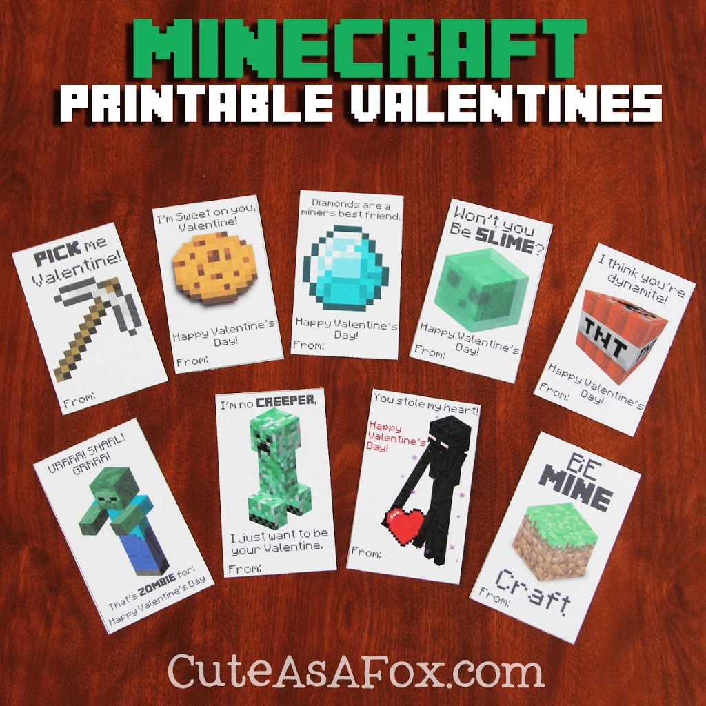 Printable Minecraft Valentines | Minecraft Pokemon Cards Printable