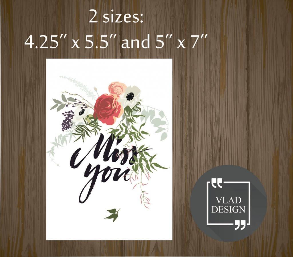 Printable Miss You Card Gift Card Printable Cards Instant   Etsy   Printable Miss You Cards
