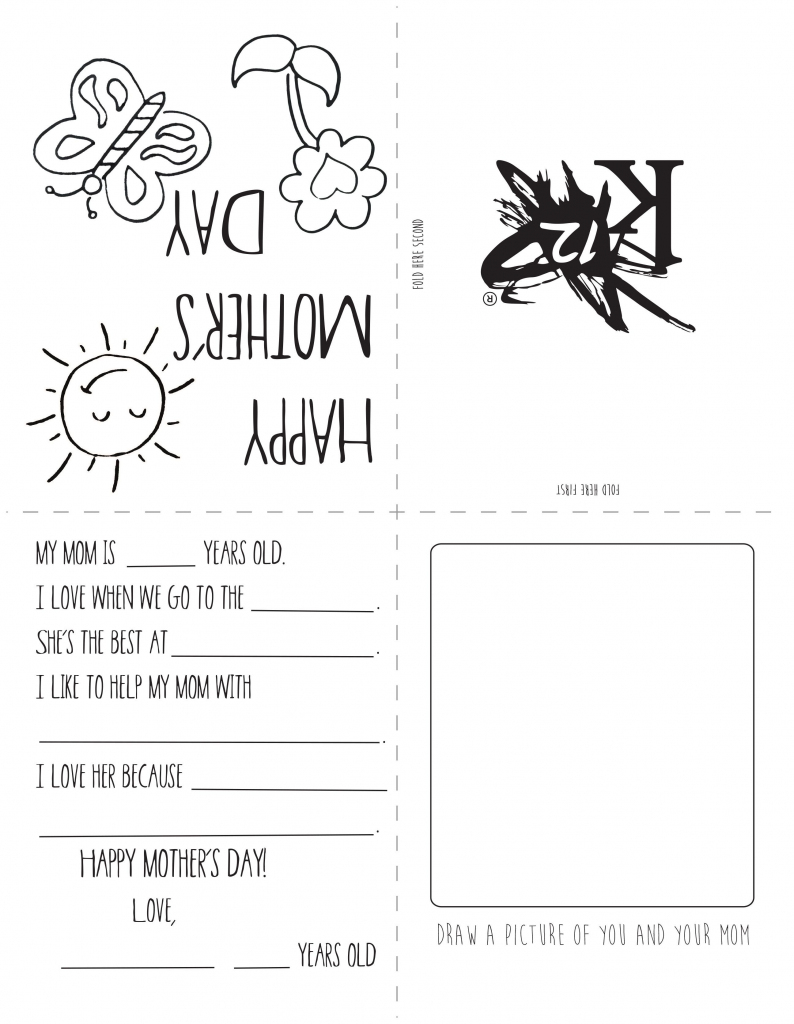 Printable Mother's Day Card   Spring Activities   Homeschool, Gifts   Printable Mothers Day Cards For Kids To Color
