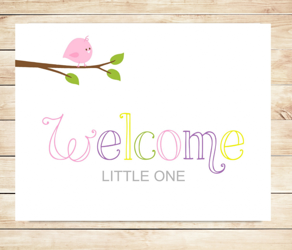 Printable New Baby Girl Welcome Card Instant Download Card   Etsy   Baby Girl Card Printable