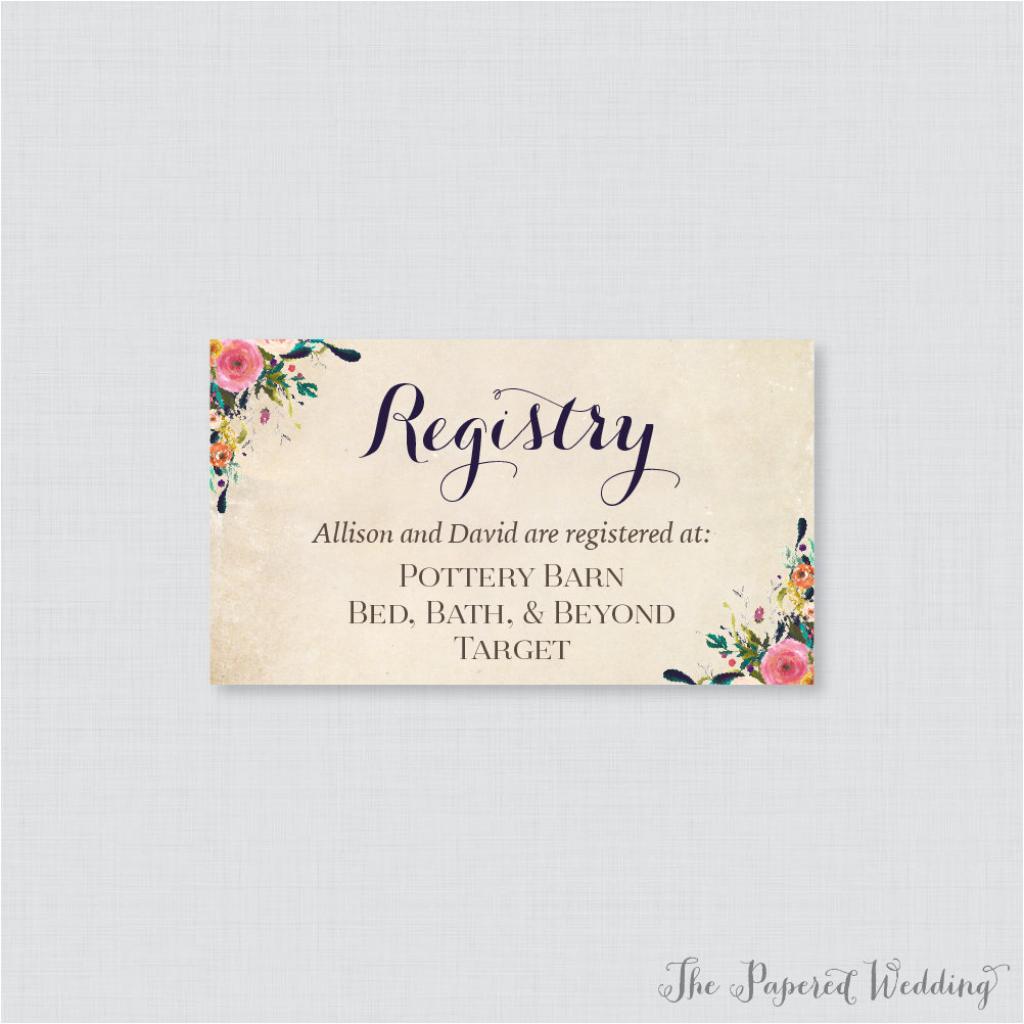Printable Or Printed Wedding Registry Cards Floral Wedding | Etsy | Free Printable Registry Cards