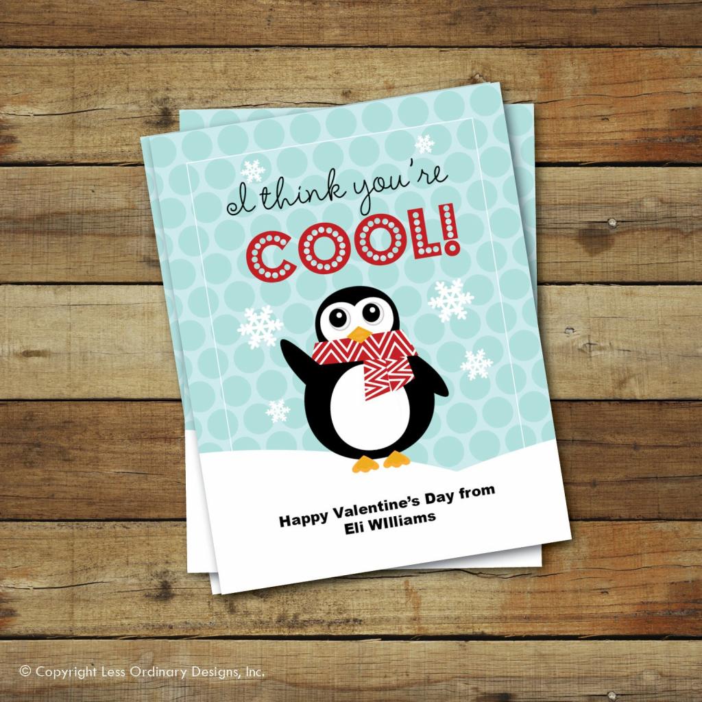 Printable Penguin Valentine's Day Card I Think | Etsy | Printable Penguin Valentine Cards