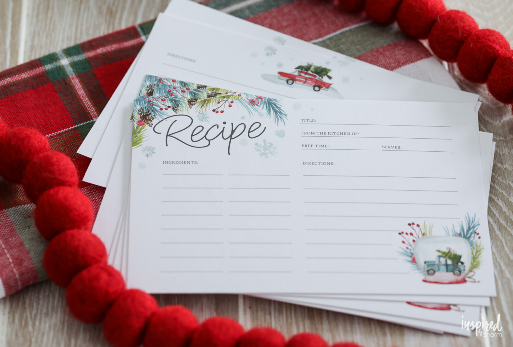 Printable Recipe Cards For Christmas - Free Holiday Download   Printable Recipe Cards For Christmas