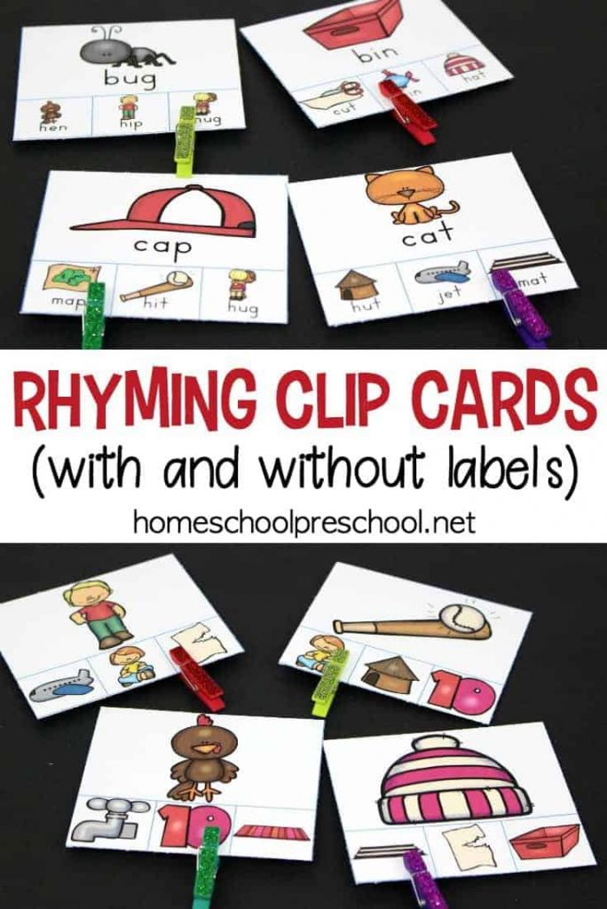 Printable Rhyming Clip Cards Rhyming Activity For Kids   Free Printable Rhyming Words Flash Cards