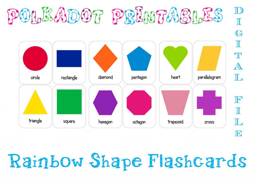 Printable Shape Flashcards Set Of 12 Instant Download   Etsy   Printable Shapes Flash Cards